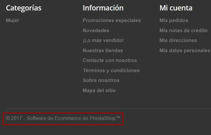Quitar o modificar copyright del pie de página de PrestaShop 1.6